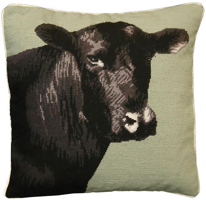 Throw Pillow Needlepoint Black Angus Cow