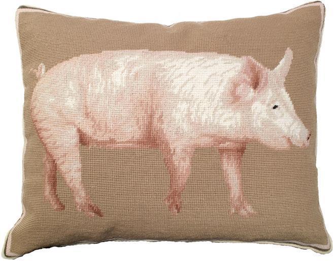 Throw Pillow Needlepoint Pig American