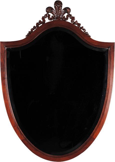 Wall Mirror Shield Solid Mahogany Beveled