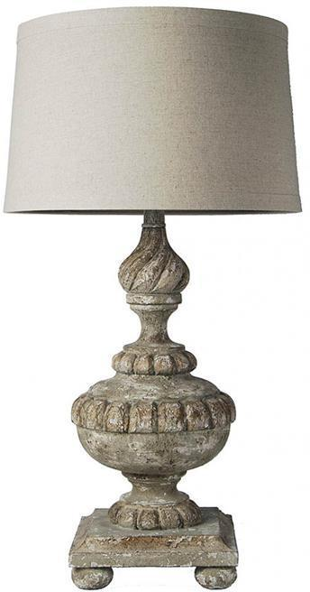 Table Lamp Distressed Antique Gray Green