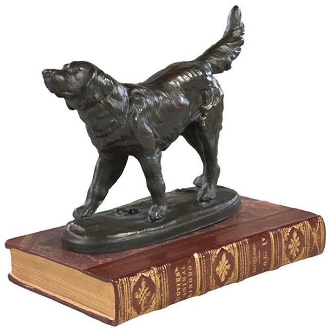 Sculpture Statue Golden Retriever Red Book