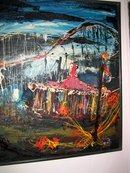 Circus scene in California oil/board