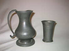 18 Century Pewter Pitcher and Pewter Cup