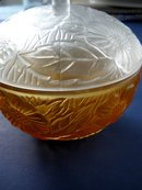 Art Deco Pate de Verre Glass Powder Container