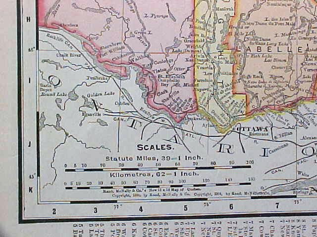 Map Ontario & Quebec 1907 Rand McNally