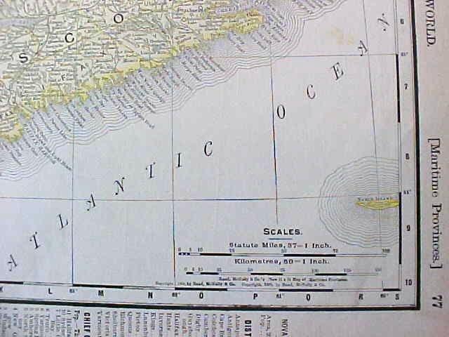 Map Nova Scotia & Manitoba 1907 Rand McNally