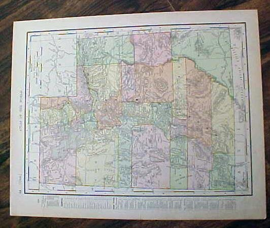 Map Nova Utah & Wyoming 1907 Rand McNally