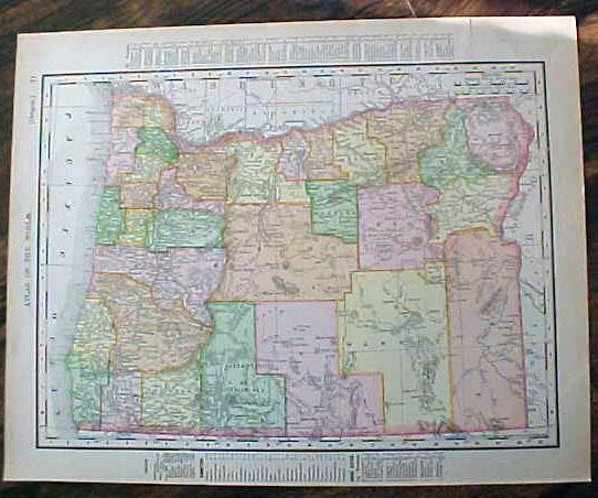 Map Washington & Oregon 1907 Antique