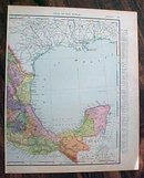 Antique Map Mexico & Central America 1907 Rand McNally