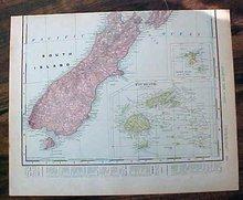 Antique Map Hawaii & New Zealand Figi 1907