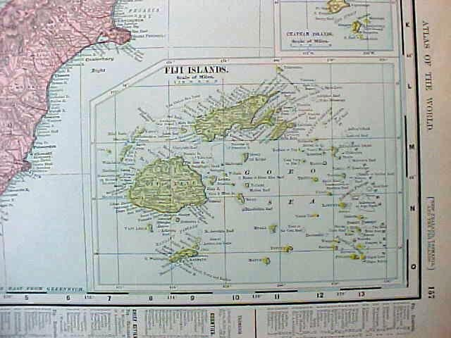 Antique Map Hawaii & New Zealand Figi 1907