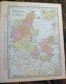 Antique Map Denmark & Sweden, Norway 1907