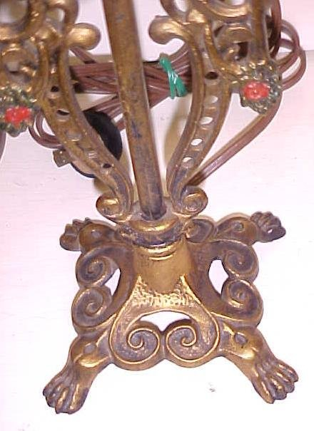 Candlestick Lamp Pair Lion Paw Footed Cast Metal
