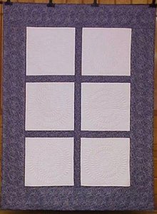 Quilt Feathered Circles Blue White Damask Custom Quilted 61 x 82