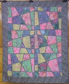Quilt Stained Glass Pastel Leaves 48 x 59