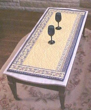 French Country Table Runner Blue & Yellow