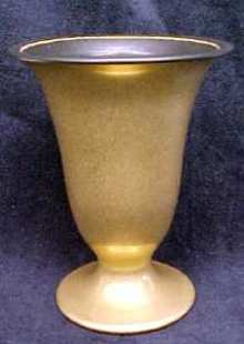 Hyalyn Porcelain Vase Rich Gold & Black