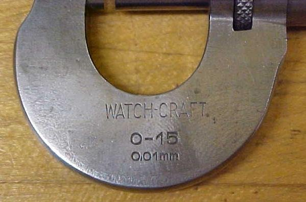 German Watch-Craft Micrometer 0-15 mm & wood box