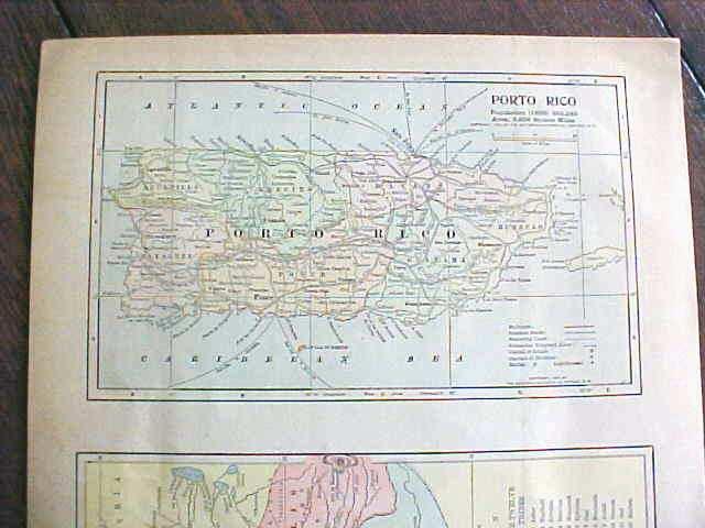 Antique Map Puerto Rico British Columbia 1901
