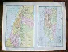 Antique Map Puerto Rico British Columbia 1906