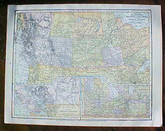 Antique Map Puerto Rico British Columbia 1906