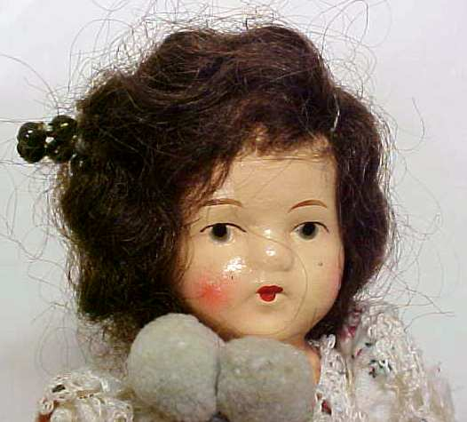 German Bisque Doll Jointed Mohair Wig Antique