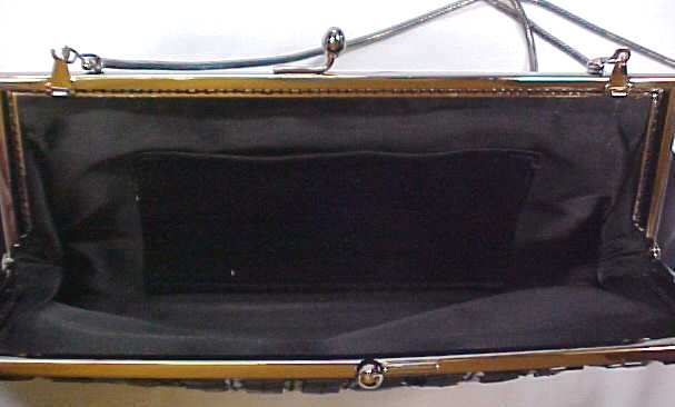 Evening Bag  Black Beaded Elegant Deco Style
