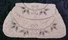 Antique Beaded Purse France Silver Beads