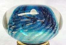 Artist Glass Paperweight Blue Anemone