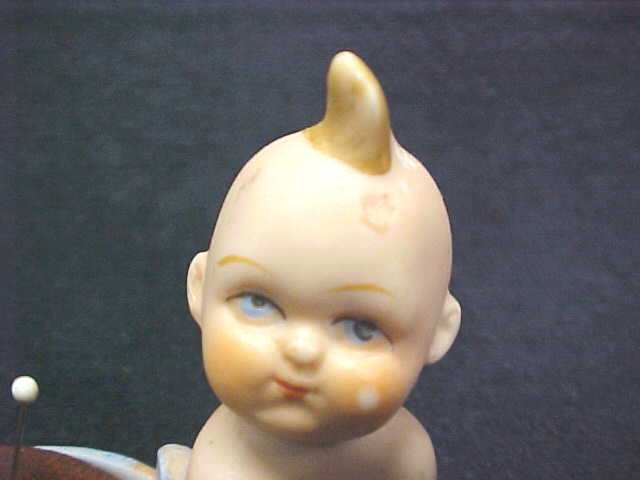 Bisque Baby Pin Cushion Unusual Vintage