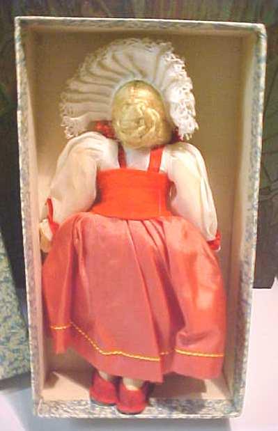 Ethnic Doll Switzerland Felt Face + Orig Box
