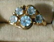 Ring 14 kt  Sky Blue Topaz Cluster Ladies