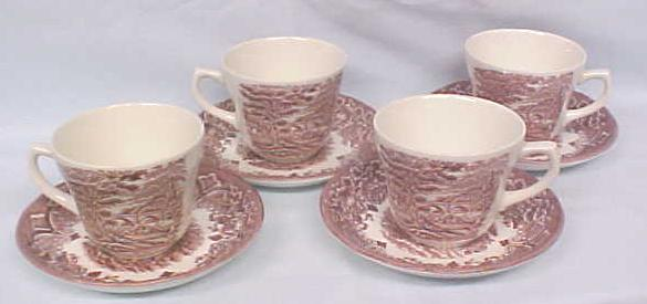 Grindley Teacups Saucers Red Transferware