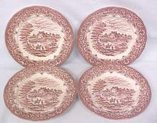 Grindley Bread Plates Red Transferware 4 PC