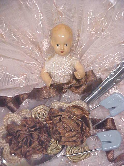 Miniature Doll Ornate Box Baby Gift Vintage