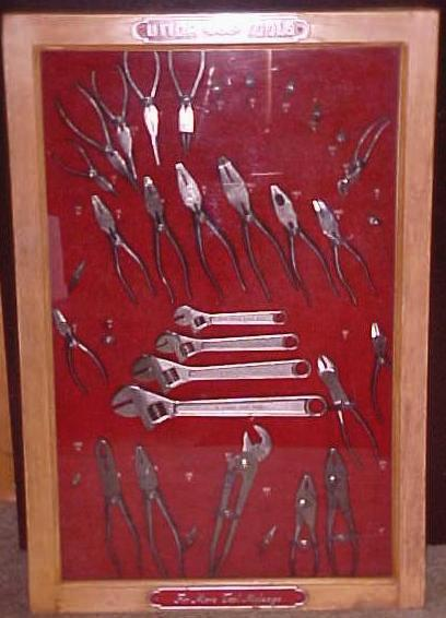 Utica Wrench & Pliers Display Case w/Tools