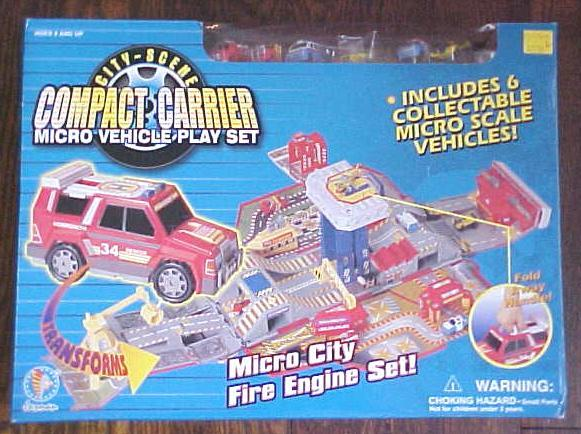 Compact Carrier Micro City Fire Engine Play Set