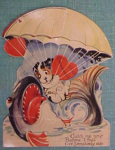 Antique Valentines Card Puppy in Parachute Fold Out