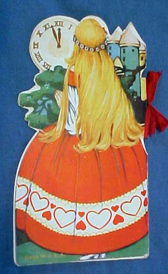 Antique Valentines Book Card Cinderella Very colorful