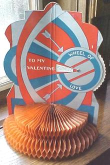 Vintage Valentines Honeycomb 4 Pc Spin Wheel Antique