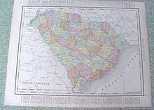 Map South Carolina Georgia 1912 Antique