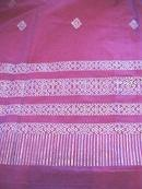 Vintage Sari Saree Rose Silk Ornate Silver Designs