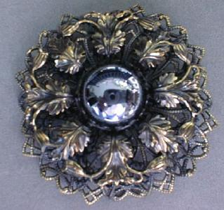 Brooch Pin Unusual Large Ornate Stone