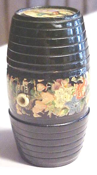 Victorian String Holder Wood Barrel Floral