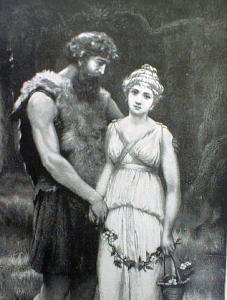 Engraving of Parthenia & Ingomar 1892 Ornate Frame