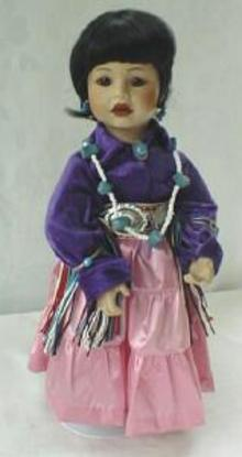 Doll Dressed Up For The PowWow Porcelain