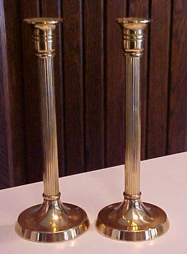 Brass Candle Stick Holders Pair Roman Pillar