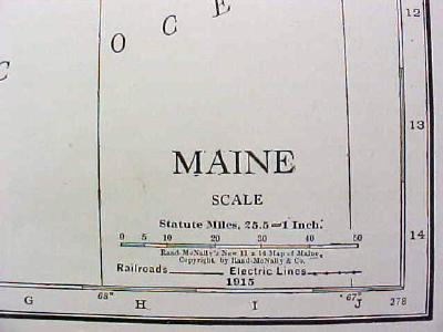 Map Maine 1916 Nice Details & Colors