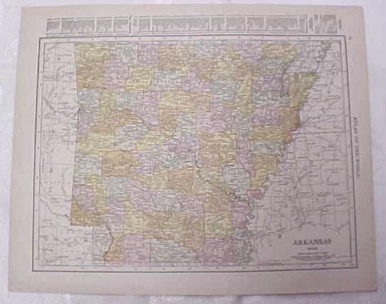 Map Arkansas Kansas City Mo Kansas 1917 Rand McNally