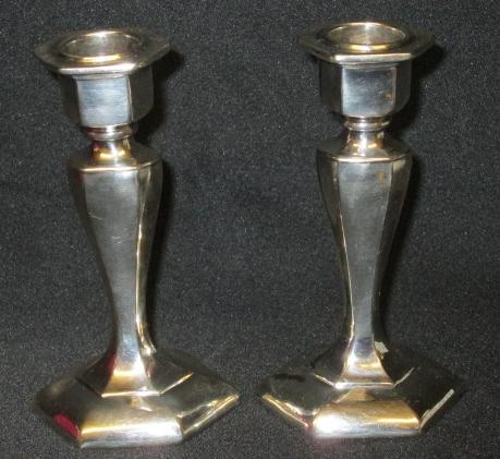Antimony Candlesticks Pair Silver Plated